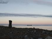 Inukshuk landmark along the arctic coast