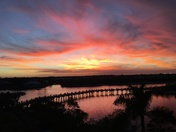 Amazing sunset over Jupiter Riverwalk