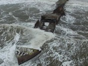 Stormy Seacliff: Drone view of Cement Ship Stern Damage