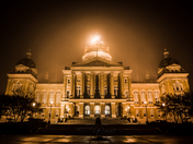 A foggy night in downtown Des Moines.