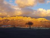 Sunny snow mountains