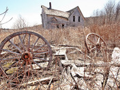 Abandoned wagon wheel house