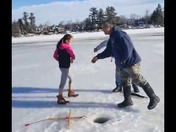 Ice fishing family fun video!