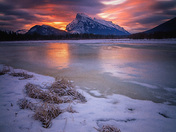 """Fire and Ice"" Mount Rundle at sunrise in the Vermillion Lakes"