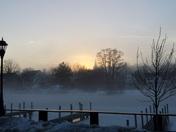 Fog at sundown on Back Bay Wolfeboro