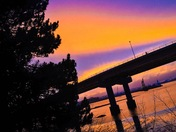 Colorful Casco Bay Bridge Sunset