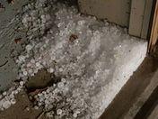 Hail piled up