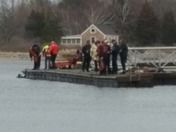 Car in water in Cohasset Harbor