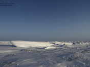 View of Sastrugi, wind carved ridges in the snow, near Arviat, Nunavut