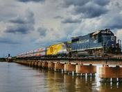 Brightline's Bright Pink Trainset crosses the Stuart Drawbridge
