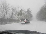 WRONG side of road in blizzard!