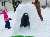Hailey and family build igloo