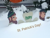 St. Patrick's day greeting in snow