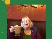 Janice Michael ....Loving her Irish Coffee
