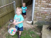 K.K. and Kaine hunting Easter Eggs!