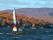 Catamaran sailing across the Lake St. Joseph in October