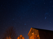 Covered bridge night sky