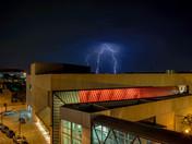 Lightning over the civic center tonight