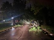 Road blocked near Alpha Gamma Delta house