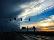 Veterans Parkway in Clarksville sunset with storm cloud moving away