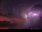 Sunset and lightning north of Winterset