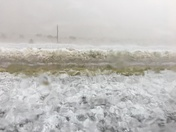 Photos - Hail covering I-40 near Clines Corners