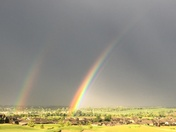 Rainbow pictures from Deer Creek Omaha, Monday June 26, 6:50 am
