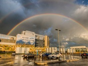 Rainbow over South Calgary's hospital