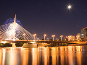 Canada Day Winnipeg Fire Works over Esplanada Riel Bridge