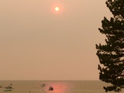 Lake Tahoe smoke sunset