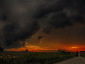 Mixture of sunset and storm clouds