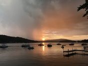 Thunderstorm on Newfound Lake at sunset