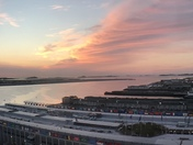 Sunrise in the Seaport overlooking Logan airport
