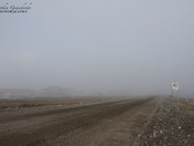 Heavy fog along the coastline of Arviat