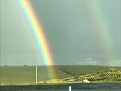 Double rainbow at the farm pond
