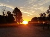 Sunrise with Semi truck passing