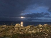 Moonrise over Lake Michigan in Racine