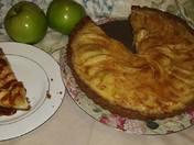 Apple custard tart with red chile pecan crust