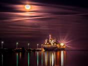 Long exposure night shot of boat and dock
