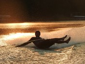Sunrise barefoot skiing at Lake Panorama.