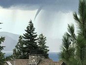 funnel cloud/water spout over Lake Tahoe