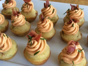 Mini Green Chile-Bacon Corn Muffins with Red Chile Frosting