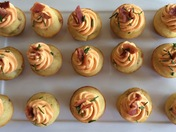 Mini Green Chile-Bacon Corn Muffins with Red Chile Frosting (Directions Part 1)