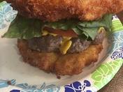Green chili Mac and cheese burger