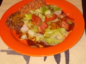 Red Chile ground beef & cheese enchiladas