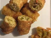 Green Chile Chicken Fettuccine Alfredo Egg Rolls