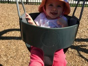Emma's first time on the swing