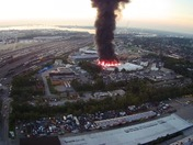 Warehouse fire drone footage