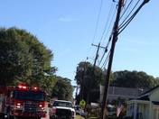 Tractor trailer brought power lines