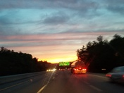 Sunset over highway